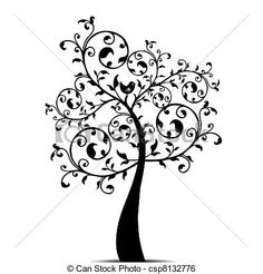 Tree Clip Art Black and White | Clip Art Vector of Art tree - Beautiful art tree isolated on white ...