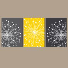 DANDELION Wall Art, CANVAS or Prints Gray Yellow Bedroom, Bathroom Artwork, Bedroom Pictures, Flower Dandelion Set of 3 Home Decor