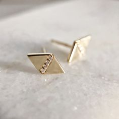 Diamond Kite Stud Earrings - recycled 14k yellow gold and ethically sourced Canadian Origin Diamonds