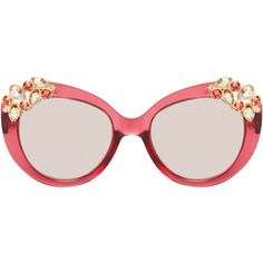 Jimmy Choo Women's Megan Embellished Oval Frame - Cream/Tan ($199) ❤ liked on Polyvore featuring accessories, eyewear, sunglasses, uv protection glasses, jimmy choo glasses, acetate sunglasses, mirrored lens sunglasses and logo sunglasses