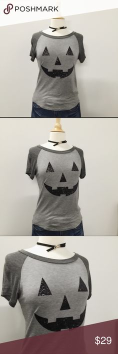 Glitter Halloween Party Top Perfect for your Halloween get togethers and pumpkin patch photo ops!  95% Rayon, 5% Spandex.  Raglan sleeve, feminine cut, curved hi lo hem.  Will ship ASAP! Tops Tees - Short Sleeve