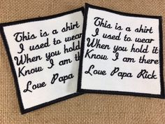 SET of 2 - Smaller SEW ON Memorial Patches - Memory Patches, This is a shirt I used to wear, In Memory, Shirt Pillow Patches, Memory Patches