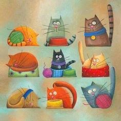 Carolina Farias - ilustradora - various cats. - I just think these cats are adorable! VFC : Carolina Farias - ilustradora - various cats. - I just think these cats are adorable! Cool Cats, I Love Cats, Crazy Cats, Silly Cats, Funny Cats, Gatos Cool, Photo Chat, Cat Quilt, Cat Colors