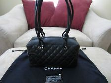 Authentic CHANEL Black Cambon Ligne Quilted Calfskin Leather CC Bowler Bag Tote