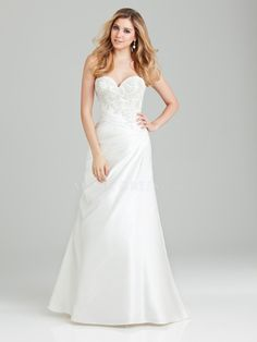 A line Floor Length Elastic Satin Sweetheart Wedding Dress With Embroidery