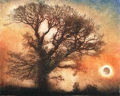 Tree & Moon. Etching