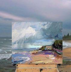 """Rain Passing at Coledale Beach"", 35X45cm. #Coledale #Beach #Rain #creative #inspiration"