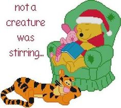 Cross Stitch Knit Crochet Plastic Canvas Waste Canvas Rug Hooking  Bead Work Pattern .    This is Winnie the Pooh who was reading to Tigger and Piglet and they all have fallen asleep.  What is he reading?  The Night before Christmas I imagine.  How cute! https://www.pinterest.com/resparkled/