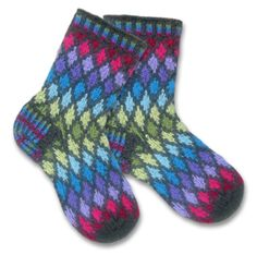 KnitWhits - Knitting Patterns and Kits - Jewel Fair Isle Socks Fair Isle Knitting Patterns, Crochet Patterns, Knitting Charts, Knitting Socks, Hand Knitting, Knit Socks, Vintage Knitting, Easy Knitting Projects, Knit Basket