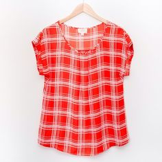 Plus Size Checkered Blouse A must have for spring and summer. Available in multiple colors. 100% polyester. Tops Blouses