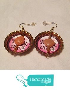 Shiny Orange Upcycled Bottlecap Earrings with Seashells from Southern Women…