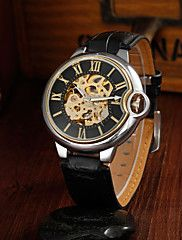 Men's Fashion Business Hollow Full Automatic Round Dial Leather Band Machine Analog Wrist Watch(Assorted Color)