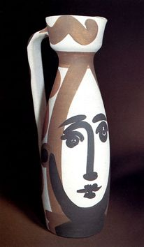 "Pablo Picasso - ""Face"" Pitcher  -  White earthware clay - decoration in engobes - glaze inside - red, black - Madoura, Vallauris"