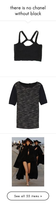 """there is no chanel without black"" by thatsstellar ❤ liked on Polyvore featuring tops, shirts, bras, crop tops, cami shirt, shirt crop top, cropped cami, shirts & tops, crop shirts and t-shirts"