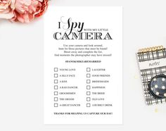 I Spy With My Little Camera Printable Card, I Spy Wedding Game, Wedding Favor, Wedding Reception Game, Hashtag Sign, Instant Download #BPB44 by BlissPaperBoutique on Etsy https://www.etsy.com/listing/226957930/i-spy-with-my-little-camera-printable