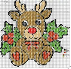 Reindeer with holly wall hanging