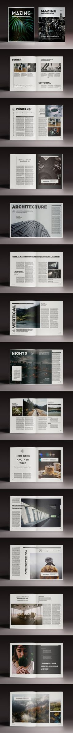 32 Pages Magazine Template InDesign INDD - Letter Size and A4 Size