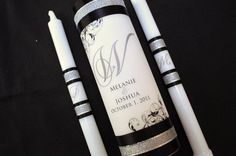 Monogram Unity Candle Set with crystals by JaxDesigns27 on Etsy, $35.00