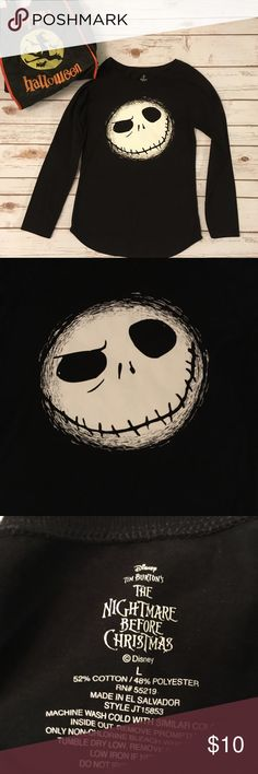 EUC Jack Skellington Long Sleeve Tee Not too early to start thinking about Halloween 🎃👻 Can't go wrong with this JS tee for all you Nightmare Before Christmas fans. 52% cotton, 48% polyester. Disney Tops Tees - Long Sleeve