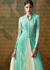 Delightsome Embroidered Work Georgette Blue Designer Palazzo Salwar Kameez