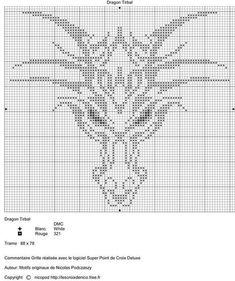 Cross stitch dragon (from crochet pattern) Cross Stitch Charts, Cross Stitch Designs, Cross Stitch Patterns, Cross Stitching, Cross Stitch Embroidery, Embroidery Patterns, Hand Embroidery, Mochila Crochet, Arte Nerd