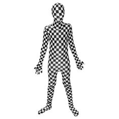 "Black and White Check Kids Morphsuit Fancy Dress Costume - size Large 4""1-4""6 (123cm-137cm). OFFICAL MORPHSUIT COSTUME: The Black and White Check Kids Morphsuit, a simple costume with a high impact. PERFECT FOR PARTIES: The Black and White Check costumes are perfect for Halloween and parties, or if you've ever needed to blend into a massive chess board. SIZES THAT FIT: Size based on height: Small 94 to 107cm; Medium 108 to 122cm; Large 4""1-4""6 (123cm-137cm). If in doubt go one size up…"