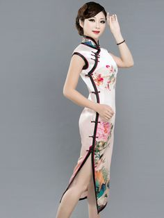 Pink champagne watercolor floral heavy silk qipao traditional Chinese sheath dress ZB7010-972-02