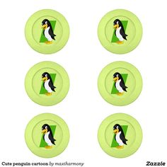 Cute penguin cartoon pack of small button covers