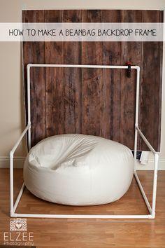 An Easy Elzee – Beanbag Backdrop Frame DIY backdrop frame for beanbag, PVC backdrop frame for beanbag, Newborn Beanbag backdrop frame.