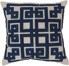 Oatmeal/Midnight Blue Surya Greek Key Pillow #modish #newitems