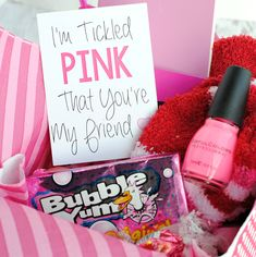 Tickled Pink Gift Idea A Peek at the Fun: If you are looking for pink gifts for someone who loves the color pink, this cut Diy Christmas Gifts For Friends, Cute Gifts For Friends, Christmas Cookies Gift, Cheer Up Gifts, Funny Christmas Gifts, Christmas Gift Bags, Birthday Gifts For Best Friend, Best Friend Gifts, Christmas Games