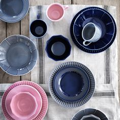 STRIMMIG Deep plate/bowl, stoneware blue - IKEA Side Plates, Serving Plates, Grey Plates, Earthenware, Stoneware, Ikea Ranarp, Table Color, Ikea Dining Table, Kitchen Dining