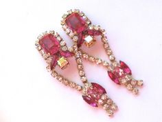 Vintage Czech Raspberry Rhinestone Signed by CrimsonVintique