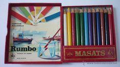 RUMBO. Caja de 12 lápices de colores de la marca MASATS. A estrenar. Años 50/60 - Foto 1