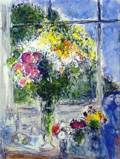 """Window in Artist's Studio"" -- 1976 -- Marc Chagall -- Russian & French -- Oil on canvas -- Private Collection."