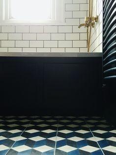 Modern bohemian vintage blue brass metro tile bathroom, encaustic cement cube tiles, antique brass shower fitting bath taps House Tour: Our Blue, Brass metro tile bathroom