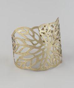 Gold Cutout Leaf Cuff