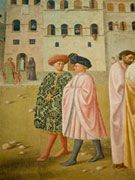Masolino da Panicale (Italian, 1383-1447) ~ Healing of the Cripple and Raising of Tabitha ~ Fresco detail ~ Cappella Brancacci, Santa Maria del Carmine, Florence ~ Two young men in elegant 15th-century dress. The mazzochio of man on right and cloak of one on left are lavishly decorated with vegetal  motifs of 15th c. Florentine damask. Setting is Florentine square with Florentine architecture.