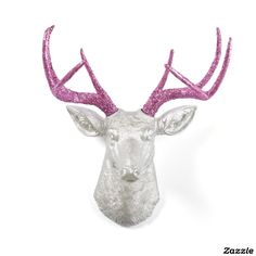 Pink Glitter Antlers with Silver Stag Deer Head