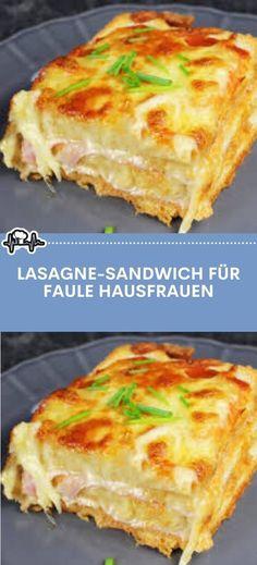 Lasagne-Sandwich für faule Hausfrauen – Die Küche Burger Co, Sandwiches, Pizza Snacks, Fat Foods, Food Items, Finger Foods, Vegetarian Recipes, Food Porn, Brunch