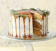 Salted caramel pear cake from BBC Good Food Magazine, December 2017 by Rosie Birkett