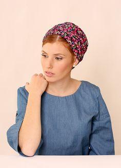 Black head scarf – Headcovering with print – Head wrap  – Hair snoods by TAMARLANDAU on Etsy