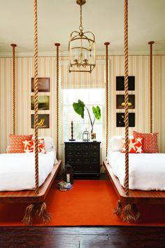 orange, gender-neutral, great lighting, HANGING BEDS