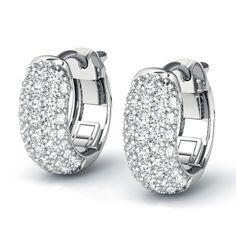 a1db7d17b .82ctw Puffed Pave 4.5mm Hoop Earrings in 14k White Gold Stone Earrings,  Diamond