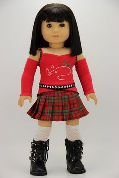 e921a72cf9 Handmade 18 inch doll clothes - Red and green 4 piece pleated skirt outfit  (991)