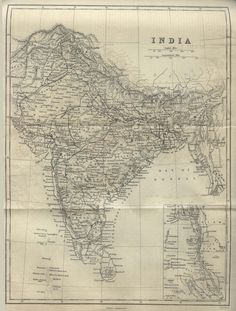 old map of india depicting all of the south asian subcontinent as one country