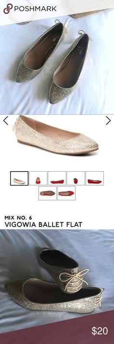 Gold Ballet Flat Mix No. 6 Size 8 Mix No. 6 gold ballet flat from DSW Size 8.  These were worn once for my wedding! Perfect for dancing the night away and adding some sparkle to your outfit. Still in original box. Mix No. 6 Shoes Flats & Loafers