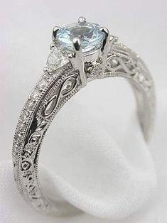 Antique Engagement Rings Aquamarine 15