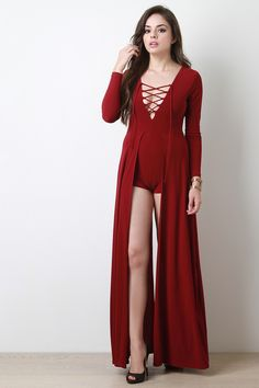 Shop Lace Up Long Sleeve Maxi Romper featuring corset lace up v-neck, long sleeves, long side tiers, and shorts layer underneath. Sexy Dresses, Fashion Dresses, Girls Dresses, Maxi Romper, Long Evening Gowns, Long Sleeve Maxi, Cute Girl Outfits, Girl Fashion, Fashion Design