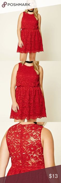 Vibrant red Lace flounce dress NWT!!! Beautiful and vibrant red color Floral Lace dress; one piece dress but the flounce design makes it look like a crop top and skirt combo, zipper closure down back, fully lined dress; Lace is Floral crocheted style; sleeveless with scoop neckline. Pair with a blazer for a stylish work outfit or throw on a leather jacket and some booties for a edgy night look!!! Forever 21 Dresses